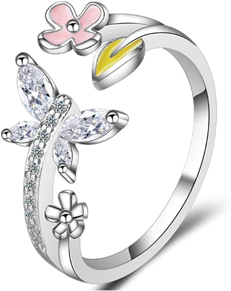 Cute Butterfly CZ Adjustable Rings for Women Girls Teen Pink Flower Open Band Rings Statement Ring Toe Finger Ring Wedding Valentine's Jewelry Birthday for Friend Lover