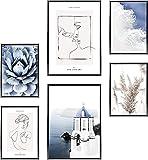 TBDY Juego de pósteres de alta calidad, imágenes de plantas, lienzo con imagen de planta tropical, hoja de plátano, hoja de palma, decoración de pared moderna, sin marco (A3 x 3 + A4 x 3)