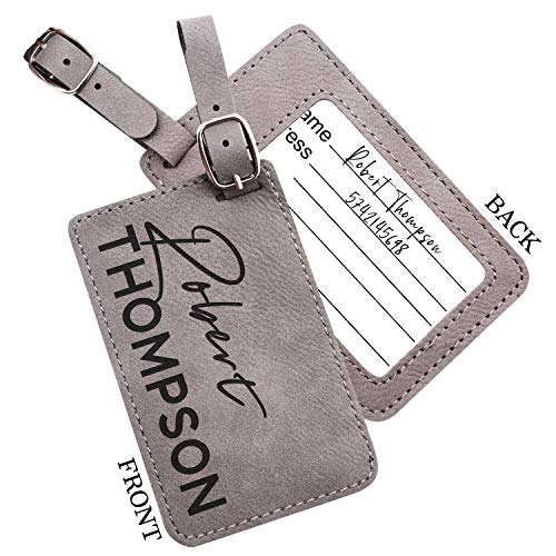 Personalized Leather Luggage Tags Gifts with Engraved Design and Name - Traveler Gifts for Women, Men, Kids - Custom Suitcase Tag for Honeymoon - Christmas Gifts for Travelers | Gray