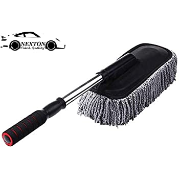 NEXTON Presents Microfiber Car Cleaner Washable Duster/Brush with Grip Expandable Handle_Grey Color (1 pc.)