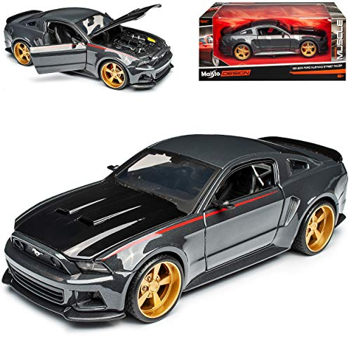 Maisto Ford Mustang V 2. Generation Coupe Grau Schwarz Tuning 2009-2014 1/24 Modell Auto