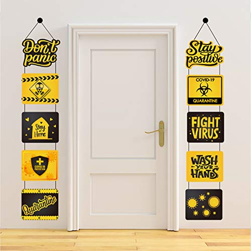 Quarantine Decorations Banner-'Don't Panic''Stay Positive' Quarantine Theme Banner Porch Welcome Banner Hanging Decorations for Indoor Outdoor Quarantine Party Supplies