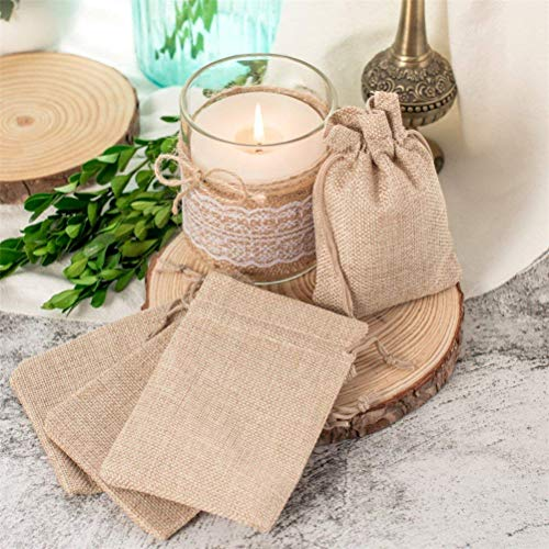 """Yenks 50 Burlap Bags with Drawstring 5x3.7"""" Small Party Favor Gift Bags Brown Bags Bulk Small Size for Birthday Bag, Craft Bags Or Party Jewelry Pouches Bags (1)"""
