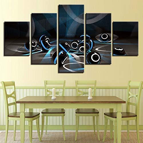 GIAOGE Schilderij Hd Gedrukt Modern Schilderij Muurkunst Poster Modulaire 5 Panel muziek Akoestiek Frame Afbeeldingen Decoratie Woonkamer Frame 30 x 40 30 x 60 30 x 80 cm.