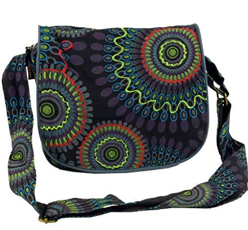 GURU SHOP Schultertasche, Hippie Tasche, Goa Tasche - Schwarz, Herren/Damen, Baumwolle, Size:One Size, 22x23x5 cm, Alternative Umhängetasche, Handtasche aus Stoff