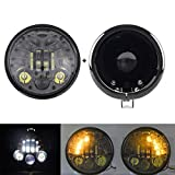 SKTYANTS 5.75 inch LED Motorcycle Headlamp Amber Left/Right Turn Signal 5.75 led Headlight housing for Harley Sportsters Touring - Super Glide Dyna (Black)