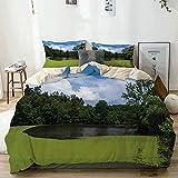 Juego de funda nórdica beige, estanque lleno de algas en la campiña del norte de Europa, temas de naturaleza mágica extraña, juego de cama decorativo de 3 piezas con 2 fundas de almohada, fácil cuidad