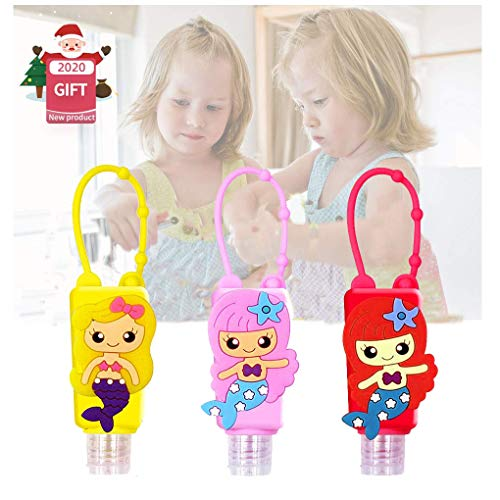 Kids Travel Hand Sanitizer Holder Keychain Bottles with Silicone Sleeve, Plastic Leak Proof Small Empty Refillable Bottles Flip Cap Squeeze Containers for Party School Supplies Liquid Bottles,3 Packs