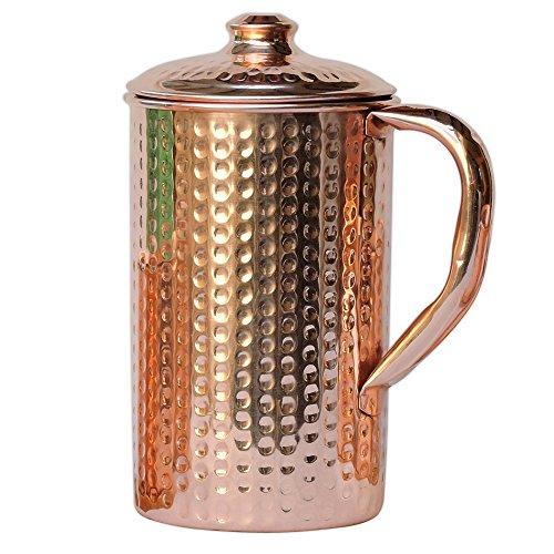 HealthGoodsEU Jarra de agua martillada de cobre puro con vas