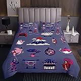 Colcha japonesa Ukiyoe con diseño de flores de cerezo Fuji para niños y niñas, juego de colcha de estilo exótico, decoración de cama, colección de 2 piezas, tamaño individual