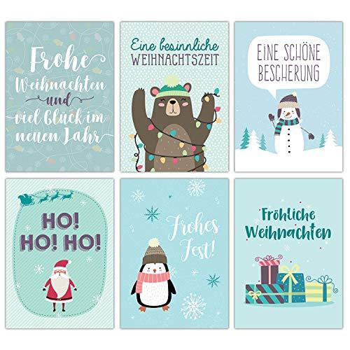 Weihnachtskarten Set blau weihnachtlich - 12 liebevoll gestaltete Postkarten zu Weihnachten - Grußkarten Set Weihnachtspostkartenset