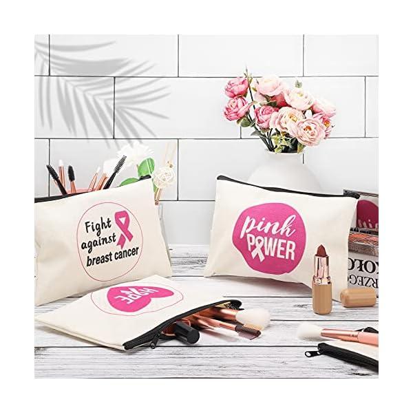 Sherli 12 Pieces Breast Cancer Awareness Canvas Makeup Bags Pink Ribbon Loiletry Bag Pink Ribbon Inspirational Makeup…