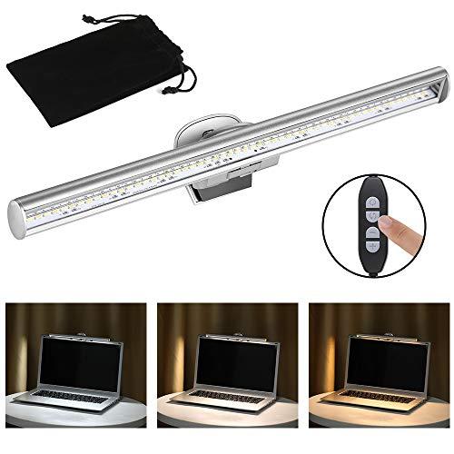 Anpro e-Reading Bildschirm Lampe Mit einstellbarer Helligkeit und Farbton Funktion, USB LED Lampe Augenpflege, Silber