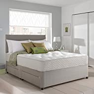 Grey Suede Memory Foam Divan Bed Set With Mattress, Headboard and 2 free drawers 4ft Small Double