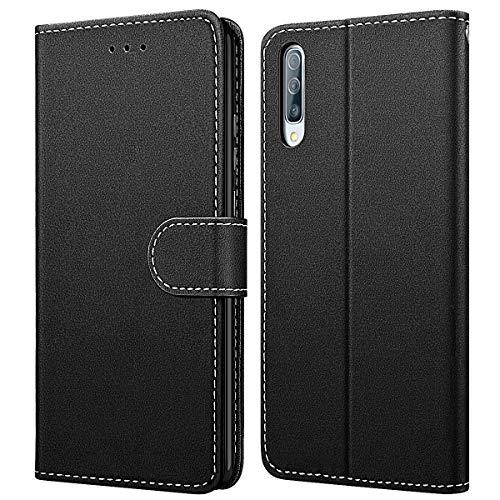 WE LOVE CASE Hülle für Samsung Galaxy A50, Schutzhülle/Klapphülle Flip Leder Hülle Abnehmbare Tasche mit Standfunktion Handyhülle mit Kartenfächer Magnetverschlüsse für Samsung Galaxy A50 - Schwarz