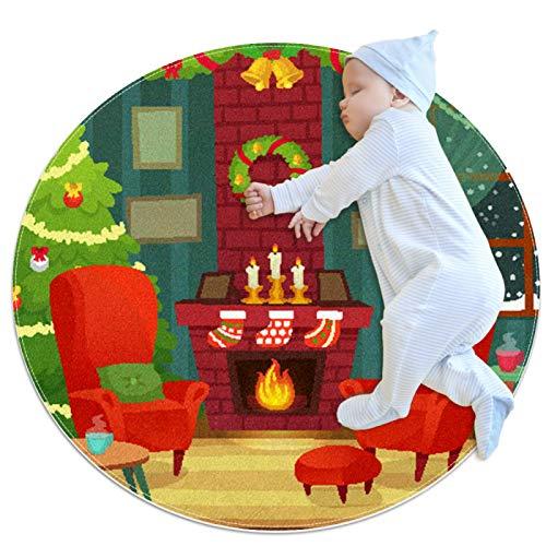 DEDEF Alfombra redonda para gatear para bebé, alfombra de juegos con dibujos animados, alfombra para actividades de piso, manta para decoración de sala de estar Navidad