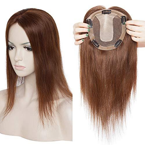 TESS Pony Haarteil Clip in Extensions Echthaar Topper Haarverlängerung Silk Base Toupet Haar Extensions für Frauen 12