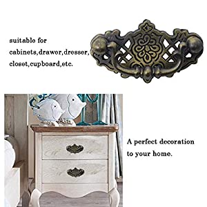 10 Pack Antique Bronze Drawer Pulls Vintage Cabinet Knobs and Pulls Retro Dresser Closet Cupboard Pulls for Bedroom Bathroom Washroom 2 inch Hole Distance