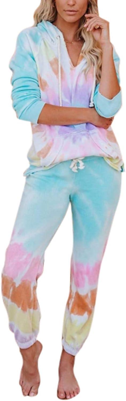Women's 2 Piece Tie Dye Hoodies Long Sleeve Sweatsuits Pullover Shirts and Drawstring Sweatpants Set