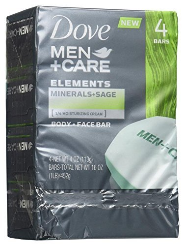 Dove Men+Care Elements Bar Minerals and Sage, 4 Ounce, 4 bars