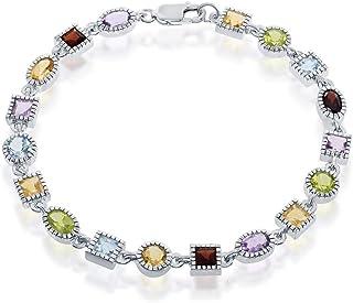 925 Sterling Silver Rhodium Plated Rainbow Multi Colored Gemstone Garnet, Peridot, Amethyst, Citrine, and Blue Topaz 7'' L...