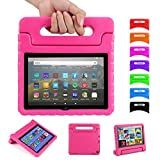 Kids Case for Fire HD 8 2020 with Foldable Handle | Blosomeet EVA Kids Friendly Rugged Protective Lightweight Cover with Kickstand for Fire HD 8 Plus 2020 | Shockproof & Kidsproof | Rose Red