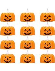 Carnavalife, Pack de 12 Velas de Calabaza con Pila para Iluminar o Accesorio de Decoración para Fiesta de Halloween. Tamaño: 4cm x 5 cm.