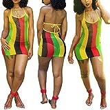 ECHOINE Womens Spaghetti Strap Colorful Stripe Fishnet Cover up Dress Bikinis Swimwear L Brown