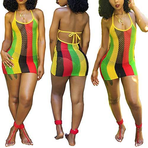 ECHOINE Womens Spaghetti Strap Colorful Stripe Fishnet Cover up Dress Bikinis Swimwear XXL Brown