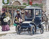 大人のためのジグソーパズル冬の雪のシーンの下で1000ピースの車DIY木製パズル子供のおもちゃ30x20in