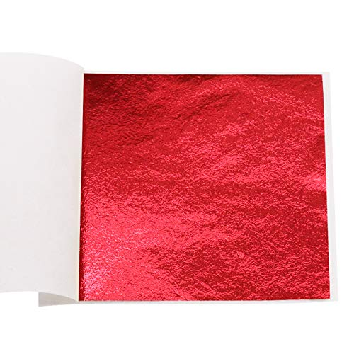 VGSEBA Imitation Gold Foil Sheets Gold Leaf Paper - 100 Pieces Red Color Metal Leaf for Arts Decoration, Handcrafts, Gilding, Furniture, Nails, Paintings, Slime, Wall, Line, DIY 3.15 by 3.35 Inches