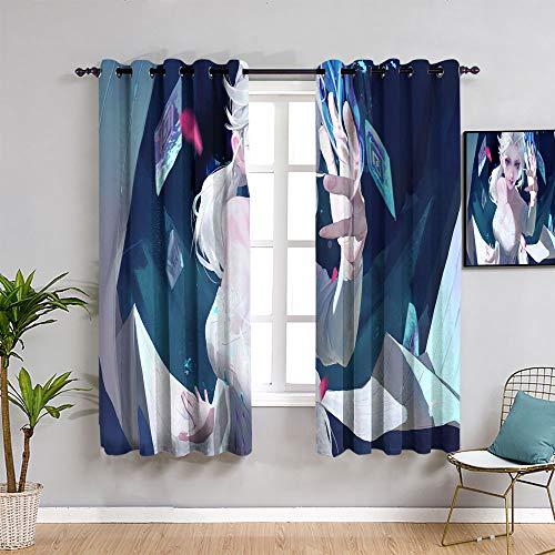 Sdustin Fro-zen elsa - Cortinas para dormitorio (132 x 157,5 cm), color negro