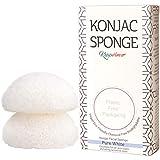 Spugna viso Konjac con estratto di t verde - per la secca e sensibile - naturale, vegana sostenibile e biodegradabile, bio scrub - (pacco da 2)