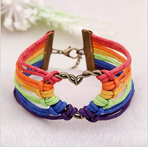 Kercisbeauty LGBTQ Pride Armband Herzform mit Regenbogensträngen Armreif Handkette