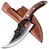 Cuchillo de cocina japonés con agujero, cuchillo para deshuesar con funda de piel, cuchillo vikingo forjado, cuchillo de chef profesional (marrón)