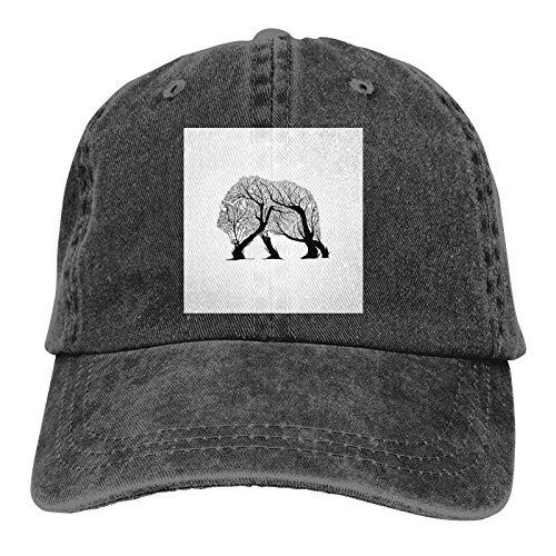 DRXX Wolfsbaum Zeichnung Unisex Soft Casquette Cap Vintage verstellbare Retro Hüte Baseball Caps Schwarz