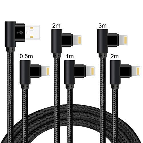 Lively Life Câble de charge de téléphone à 90degrés en nylon tressé pour téléphone X/8Plus/8/7/7Plus/Pad 0.5M+1M+2M+2M+3M Noir