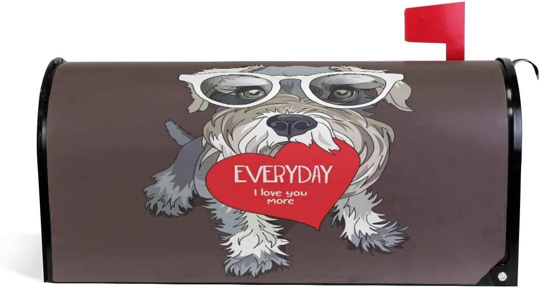 YAOAIAI Schnauzer New products San Antonio Mall world's highest quality popular Dog in Glasses Valentines Magne Red Heart with