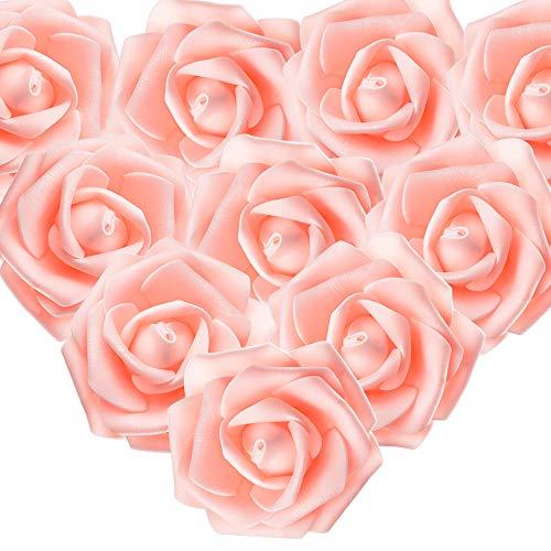 MEJOSER 50er Schaumrosen Künstliche Blumen Rosenköpfe Rosenblüten Rosa Foamrosen zum Basteln Brautstrauß DIY Party Hause Hochzeit Deko