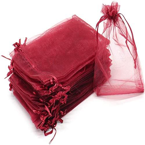 DuangDuang - Bolsa de regalo de gasa de organza (100 unidades), Color burdeos., 13*18CM