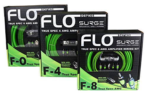 Surge F-0 Flo Series by 0 Gauge 5000W AWG Amplifier Installation Wiring Amp Install Kit