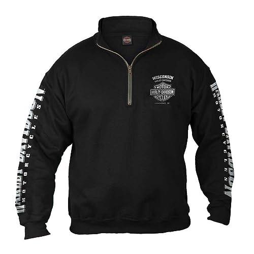 Harley-Davidson Mens Lightning Crest 1/4 Zip Cadet Pullover Sweatshirt, Black