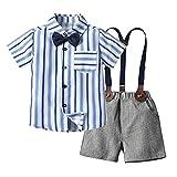 YWLINK Ropa para BebéS Camisa A Cuadros Pajarita Tirantes Y Pantalones 4 Piezas Traje De Caballero para NiñOs PequeñOs Conjunto De Ropa De para NiñOs, para Bautizo, Festivo, Boda