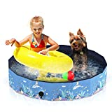Aytop Piscina para perros, plegable, piscina de PVC para perros, diseño antideslizante para niños, piscina infantil para perros pequeños y gatos, color azul (80 cm x 20 cm)