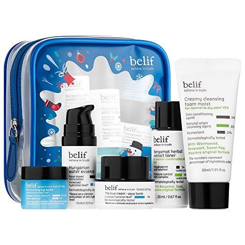 BELIF Bestsellers On-The-Go Travel Kit: Creamy Cleansing Foam Moist, Bergamot Herbal Extract Toner, Hungarian Water Essence, Firming Eye Cream, Aqua Bomb