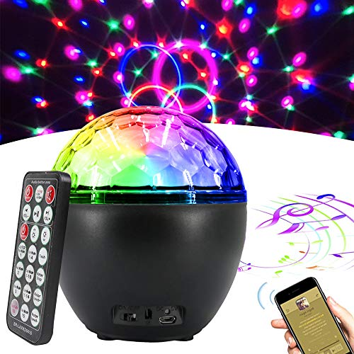 Disco Ball Lights, 16 Light Modes COSOOS Sound Activated Party Lights with Bluetooth Speaker and Remote Control, Party Supplies for Home KTV Holidays Wedding Dance Pub Bar Club Show DJ Lighting