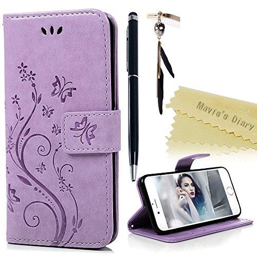 iPhone 6 6s Funda Libro de Suave PU Leather Cuero Impresión - Mavis's Diary® Case Con Flip case cover,Cierre Magnético,Función de Soporte,Billetera con Tapa para Tarjetas-Diseño de Mariposa y flor de la vid,Color de Púrpura claro