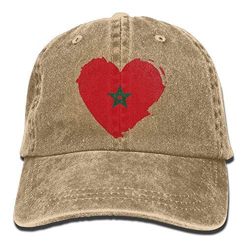 hgdfhfgd Gorras de béisbol Ajustables de Mezclilla teñidas en Hilo de Marruecos Gorra con Forma de corazón con Bandera de Marruecos Multicolor51
