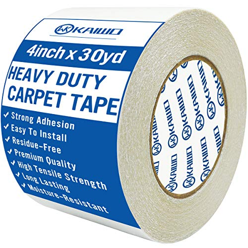 Double Sided Heavy Duty Carpet Tape, for Carpet to Floor and Rug to Carpet Applications,Industrial Strength, Residue-Free,4 Inch x 30 Yards
