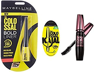 Maybelline New York Colossal Bold Eyeliner, Black, 3g And Maybelline New York Colossal Kajal, Black, 0.35g And Maybelline ...